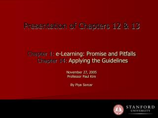 Chapter 1:  e-Learning: Promise and Pitfalls