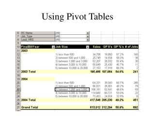 Using Pivot Tables