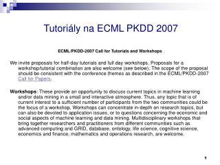 Tutoriály na ECML PKDD 2007