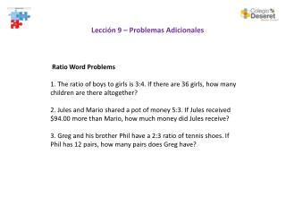 Lección 9 – Problemas Adicionales
