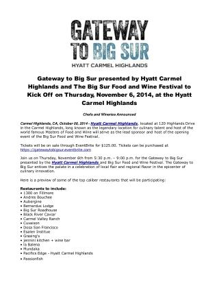 Gateway to Big Sur presented by Hyatt Carmel Highlands