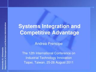 Andrea Prencipe  The 12th International Conference on Industrial Technology Innovation Taipei, Taiwan, 25-26 August 2011