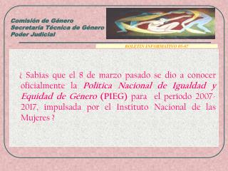Comisión de Género Secretaría Técnica de Género Poder Judicial