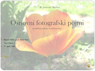 II. gimnazija Maribor Osnovni fotografski pojmi projektna naloga iz informatike