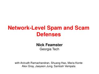 Network-Level Spam and Scam Defenses