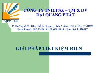CÔNG TY TNHH SX – TM & DV ĐẠI QUANG PHÁT