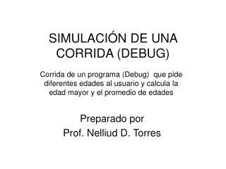 SIMULACIÓN DE UNA CORRIDA (DEBUG)