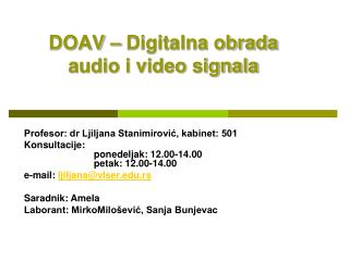 DOAV – Digitalna obrada audio i video signala