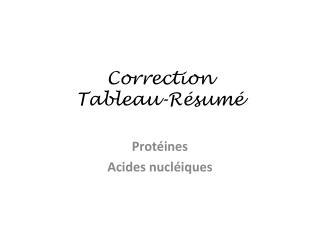 Correction  Tableau-Résumé