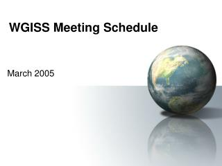 WGISS Meeting Schedule