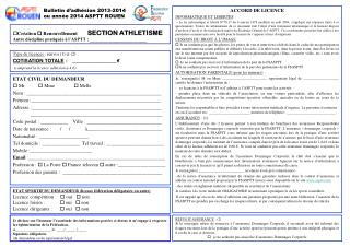 Bulletin d'adhésion 2013-2014 ou année 2014 ASPTT ROUEN
