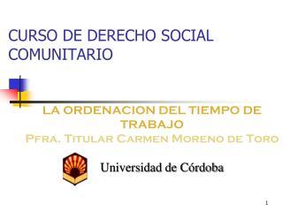 CURSO DE DERECHO SOCIAL COMUNITARIO