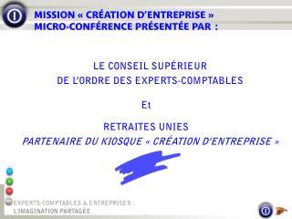 MISSION «CRÉATION D'ENTREPRISE»