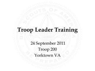 Troop Leader Training