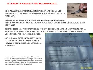 EL CHAGAS EN FORMOSA – UNA REALIDAD OCULTA