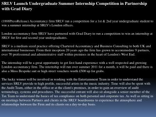 SRLV Launch Undergraduate Summer Internship Competition in P