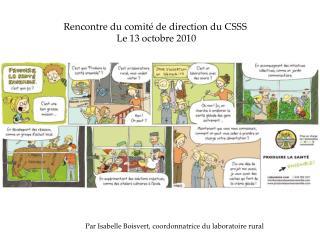 Rencontre du comité de direction du CSSS  Le 13 octobre 2010