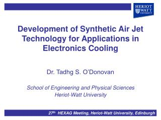 Development of Synthetic Air Jet Technology for Applications in Electronics Cooling