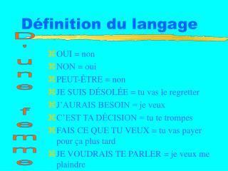 D�finition du langage