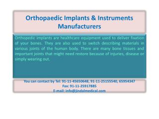 Orthopaedic Implants & Instruments Manufacturers