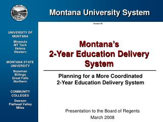 Planning for a More Coordinated                      2-Year Education Delivery System