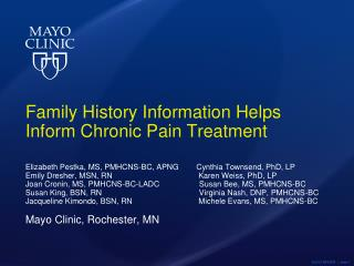 Family History Information Helps Inform Chronic Pain Treatment