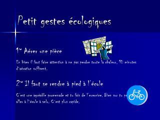 Petit gestes écologiques