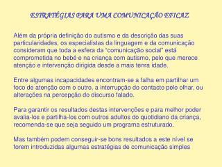ESTRATÉGIAS PARA UMA COMUNICAÇÃO EFICAZ