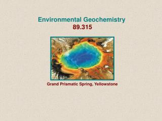 Environmental Geochemistry   89.315