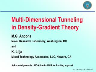 Multi-Dimensional Tunneling in Density-Gradient Theory