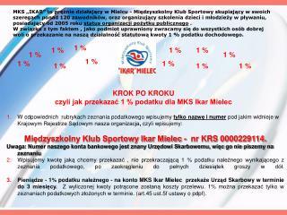 KROK PO KROKU czyli jak przekazać 1 % podatku dla MKS Ikar Mielec