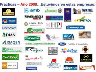Prácticas –  Año 2008 …Estuvimos en estas empresas: