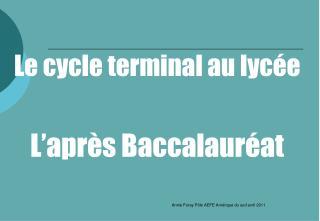 Le cycle terminal au lycée L'après Baccalauréat