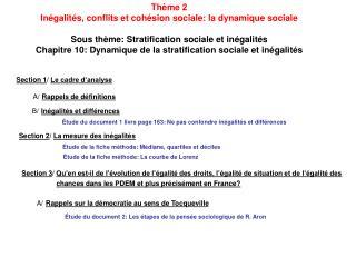 Thème 2 Inégalités, conflits et cohésion sociale: la dynamique sociale