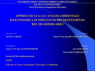 UNIVERSITÀ DEGLI STUDI DI MODENA E REGGIO EMILIA FACOLTÀ DI INGEGNERIA