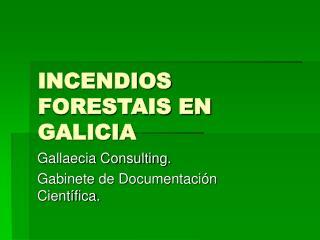 INCENDIOS FORESTAIS EN GALICIA