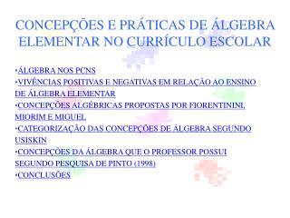 CONCEPÇÕES E PRÁTICAS DE ÁLGEBRA ELEMENTAR NO CURRÍCULO ESCOLAR