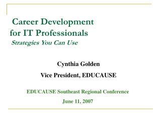 Career Development  for IT Professionals  Strategies You Can Use