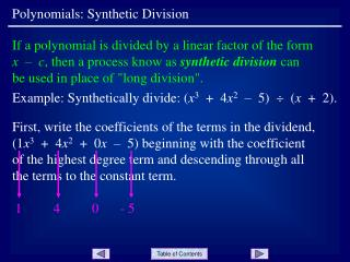Polynomials: Synthetic Division