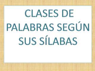 CLASES DE  PALABRAS SEGÚN SUS SÍLABAS