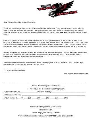 Dear Williams Field High School Supporter,