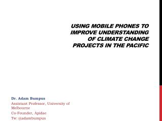 Using mobile phones to improve understanding of climate change projects in the  Pacific