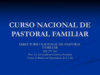 CURSO NACIONAL DE PASTORAL FAMILIAR