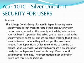 Year 10 ICT: Silver Unit 4: IT SECURITY FOR USERS