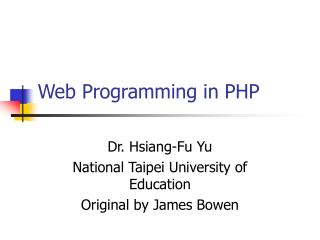 Web Programming in PHP