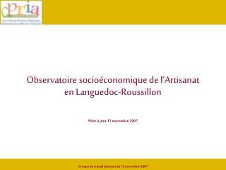 Observatoire socioéconomique de l'Artisanat  en Languedoc-Roussillon