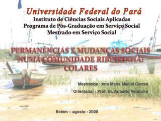 Mestranda : Ana Maria Maciel Correa Orientador : Prof. Dr. Ariberto Venturini