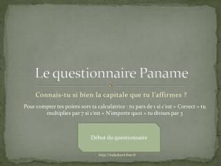 Le questionnaire Paname