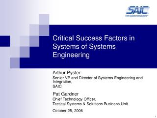 Critical Success Factors in Systems of Systems Engineering