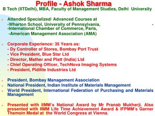 Profile - Ashok Sharma